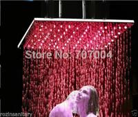 "Bathroom Ceiling Mounted  20"" Shower Head Chrome Finished Square Big Rainfall LED Shower Head"