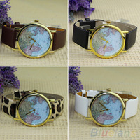 Hot Sale christmas gifts Retro World Map Watch Fashion Leather Alloy Women Casual Analog Quartz Wrist Watch items 0764