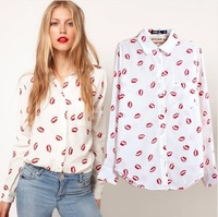 Free shipping 2014 Fashion print long-sleeve shirt chiffon shirt red lips women's shirt