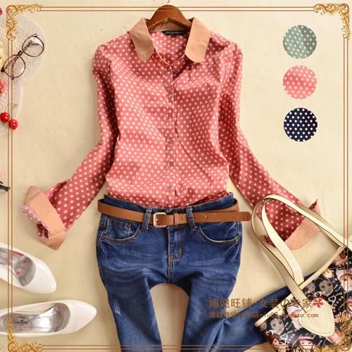 Ladies Blouses & Shirts Women Blouse Shirt Cotton Clothing Body Crochet Polka Dot Female Shirts Vintage Brand Spring 2014 New(China (Mainland))