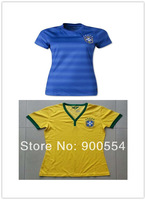 Top Best quality  Brazil womens  socce jersey 2014 World Cup Brazil national team home yellow football  shirts