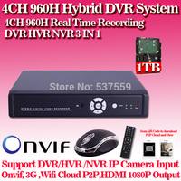 4ch Full 960H  CCTV wifi DVR for home surveillance,HDMI 1080P security standalone Hybrid DVR, NVR ONVIF recorder,HI3520D chip