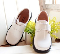 Male child student leather white shoes child flower girl formal dress uniform shoes cos shoes glossy