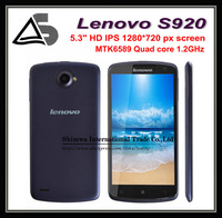 "Multi Language Original Lenovo S920 MTK6589 Quad Core Mobile Phone 5.3"" IPS 1280x720px Screen 1GB RAM 8.0mp Android 4.2 3G GPS"
