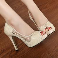 2014 Women Lace High-heeled Cutout Platform Open Toe Sandals & Flip Flops Shoes Female Fashion Princess Shoes Black Beige