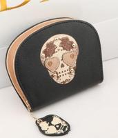 fashion PU women wallets vintage skull girl gift bag women leather handbags free shipping