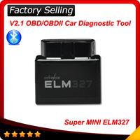 Black Super mini ELM327 Bluetooth OBDII / OBD2 V1.5 Auto Code Scanner elm 327 For Multi-brands CAN-BUS Supports All OBD-II Model