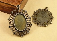 20PCS inner:18x25mm  Antique Bronze Vintage Cameo Charms Pendant Bases Setting DIY jewelry accessories