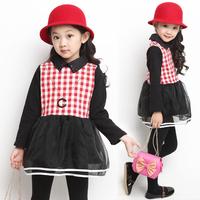 Spring new Korean girls thick long-sleeved organza dress Puff