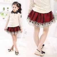 Girls fall new organza lace cake skirt woolen skirts