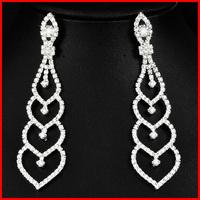 2014 Long Big Crystal Silver Heart Earrings Imitation Diamond Earrings (SK E904)