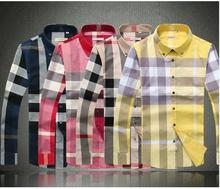 Homem moda primavera 2014 100% algodão plus size moda casual masculino camisa de manga comprida marca camisa camisa de vestido(China (Mainland))