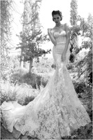 2015 Elegant Vestidos De Novia Backless Wedding Dress Spaghetti Straps Lace Mermaid Wedding Gowns Custom Made Z155