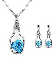 CS17 Fashion   Drift bottle Crystal Earrings Necklace – love bottle sets wholesale B14.2
