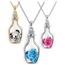 Fashion Austria crystal Drift bottle Earrings Necklace love bottle sets wholesale B14 2