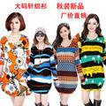 2013 autumn long-sleeve sweater mm plus size clothing loose o-neck elegant