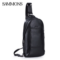 SAMMONS 2015 luxury genuine leather bag men chest pack casual bolsos male shoulder bags designer brand men messenger bags