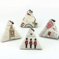 British dumplings original design zakka Triangle purse coin bag European Retro linen Lovely creative canvas Zongzi Coin Purses