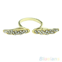 Adjustable Vintage fashion Korean Style Angel Wing Gold Plated Crystal Retro Lovely Rings 06CW