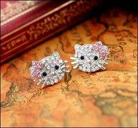 Free shipping hello kitty jewelry super cute hello kitty earring/stub earrings rhinestone kt earrings, 48pcs/lot, 24pairs, ER029