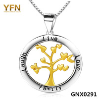 "GNX0291 Fashion 925 Sterling Silver Jewelry Tree Family Pendant 31.5*25mm with Box Chain Necklace 18"" Valentine's Gift For Women"