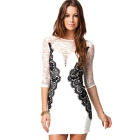 **Wholesale**  Sexy Fashion Clothings Slim Women's Lace Dress Scalloped Neck 3/4 Sleeve sophisticated Cocktail Dress 10pcs/Lot