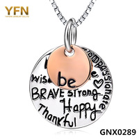 "GNX0289 Genuine 925 Sterling Silver Jewelry Box Chain Necklace 18"" Valentine's Gift For Women Fashion Engraved Pendant Necklace"