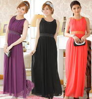F~3XL!! New Arrival 2014 European Ladies Fashion Plus Size Clothing Beading Empire Sleeveless Maxi Long Evening Party Slim Dress