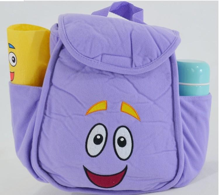 2 pçs/lote grátis frete Dora The Explorer sr . rosto Plush Backpack Shool saco roxo criança Bag atacado melhor presente # b1001(China (Mainland))