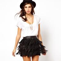 Pu Leather Skirts Fringed Three-lined Tassel  Womens Skirts Plus Size Fashion Mini Tutu Skirt Autumn Winter Black