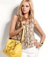 drawstring stand collar chiffon sleeveless blouse snakeskin pattern shirt women tops blusas camisa free shipping