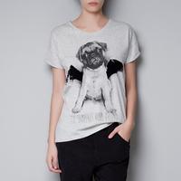100% Cotton Velvet Flocking Wings Bulldog Dog Print Short Sleeve Plus Size T Shirt Women Casual Tee Shirts Ladies Summer Top