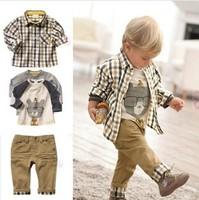 Free shipping,wholesale retail  top quality children clothing set boy's plaid 3 pcs set overshirt+tees+pants autumn baby wear