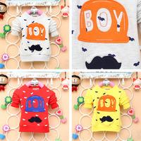 2014 autumn new arrival Children t shirt cotton baby girl boy hat top longsleeve kid mustache gentleman clothes 4pcs/lot