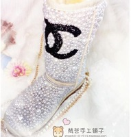 Hot Fashion High Quality Brand genuine leather fur Warm Winter diamond big pearl pure rhinestone Snow Boots plus size size35-43