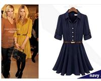 Fashion star style fashion turn-down collar single breasted waist ruffle chiffon one-piece dress 2014 spring and summer