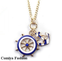 2014 new Fashion anchor navy style blue white design long statement pendant necklaces & pendants vintage jewelry gifts cc bijoux