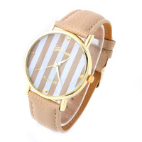 Geneva Watch PU Strap Quartz watches Analog Gold dial Casual Wristwatch 2014 Dropshipping