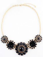 Free Shipping Fashion Women Trendy Vintage Black Gold Flower Necklace
