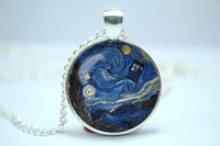 Handmade Doctor Who Tardis Blue Police Box Starry Night Van Gogh inspired glass cabochon dome pendant necklace