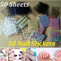 50 Sheet x 3D Design Tip New 2014 Nail Art Sticker Nail Decal Manicure Pedicure Mix Color Flower Salon DIY Nail Tools NSE50