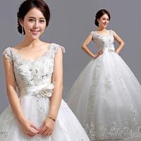 Free shipping V-neck slit neckline princess bride lace strap maternity wedding dress
