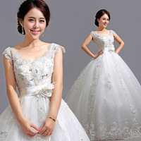 Free shipping V-neck slit neckline princess bride lace strap maternity wedding dress women's 581