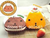 2014 new arrival RARE kapibarasan jumbo squishy charms+tag cute kawaii biscuit strap animal squishy pancake 10cm PU freeshipng