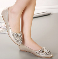 Free shipping 2013 single shoes bling rhinestone wedding shoes flat gold silver women's flat heel casual shoes