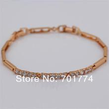 New Womens 18K Yellow GP Narrow Cupid Cut Bar Setting Clear CubicZirconia CZ Bangle Bracelet 21.4cm 8.43″ Jewelry for Girlfriend