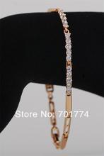 New Womens 18K Yellow GP Narrow Cupid Cut Bar Setting Clear CubicZirconia CZ Bangle Bracelet 21