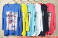 Ladies long-sleeved shirt Korean women's large size bat botting 6color *20 pic for choose
