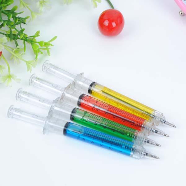 10x Needle Tube Writing Ball Point Syringe Pen Blue Ink Ballpoint Wholesale New(China (Mainland))