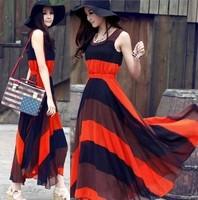 Hot Sale New Orange Blue Boho Bohemian Chiffon Stripes Summer Beach Long Maxi Dress